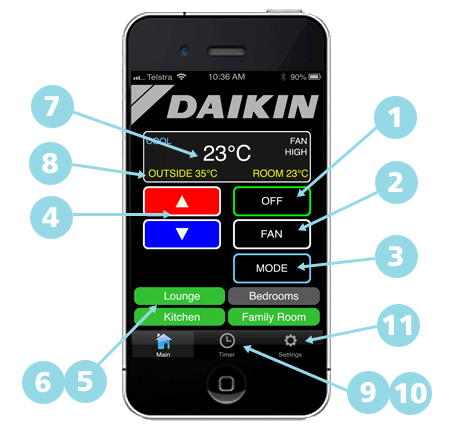 daikin ducted air conditioner timer instructions